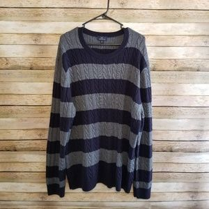 Brooks Brothers Navy Gray Cable Knit Sweater XXL